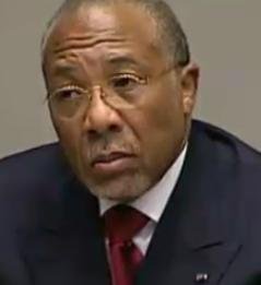 Charles Taylor listens in during the judgement