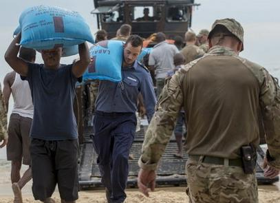The UK military made sure that food and other vital supplies were delivered.