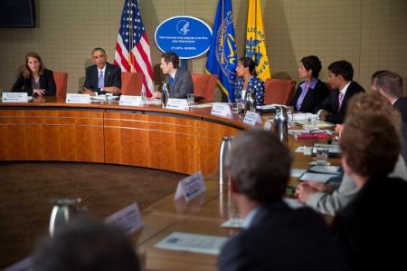 President Obama meeting with Centres for Disease Control and Prevention staff in Atlanta, Georgia.