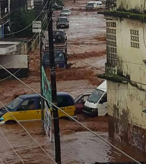 An earlier flooding scene in Freetown always ignored by an uncaring government.