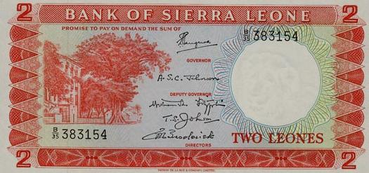 The two-leone note issued under the Stevens regime