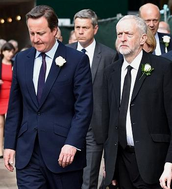 The leader of the ruling Conservative party and Prime Minister David Cameron walking alongside the main opposition Labour party leader Jeremy Corbyn. All united in grief at the loss of a rising star.
