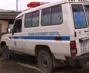 An ambulance at the Kenema Government Hospital - its condition reflects the country's health delivery system. The once flashing lights at the top shows it could have been bought for such a purpose and could have been part of a package of a deal for police vehicles.
