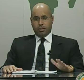 Khaddafi's son Sayf al-Islam on state television last night. The end is nigh?