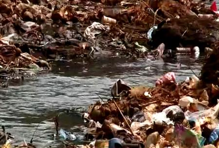 Waste disposal programmes non-existing as debris clog waterways.