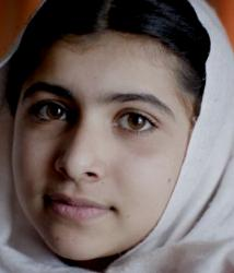 The shot Pakistani girl Malala - a target of the Taliban because she advocated for education for the girl child.
