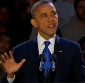 Winner of the 2012 US polls incumbent President Barack Obama in his victory speech - Photo: Video clip