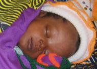A baby sleeping at the Panguma hospital