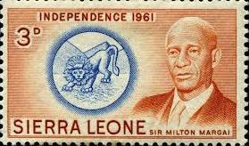 The founding father of Sierra Leone independence Sir Milton Margai depicted on a stamp. This was a 3 pence stamp used by all for letters and parcels.